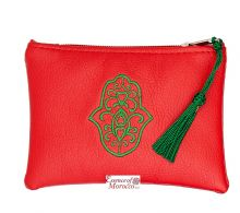 "Moroccan Pouch Purse with Hamsa Design Handmade Red Small 15 cm x 10 cm / 6"" x 4"""